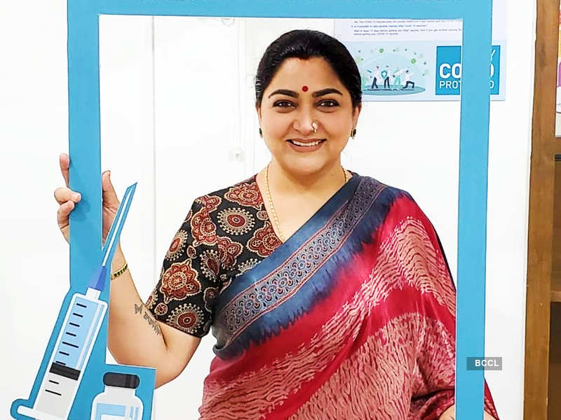 Actress-TV personality Khushbu Sundar takes first dose of COVID-19 vaccine (Photo - Instagram)