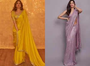 Solid coloured saris dominate Janhvi's closet