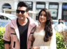 Varun and Janhvi pose for shutterbugs in CP