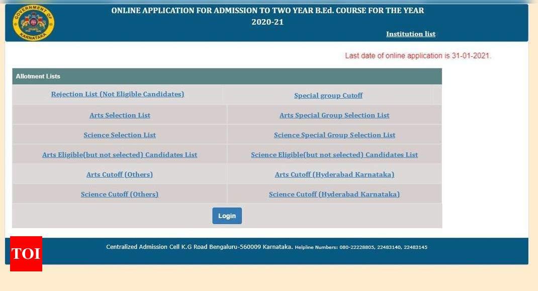 Karnataka B.Ed selection list 2021 released at schooleducation.kar.nic.in – Times of India