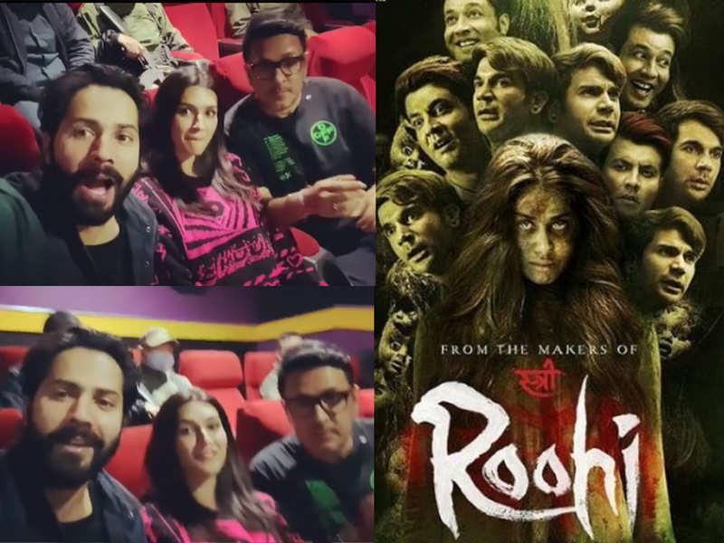 Varun Dhawan, Kriti Sanon take time off 'Bhediya' shoot to watch 'Roohi' in a theatre