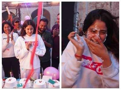 Janhvi celebrates b'day on sets of her film