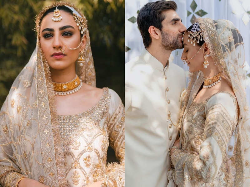 Popular Pakistani model Rehmat Ajmal just tied the knot and you can't miss her wedding lehenga