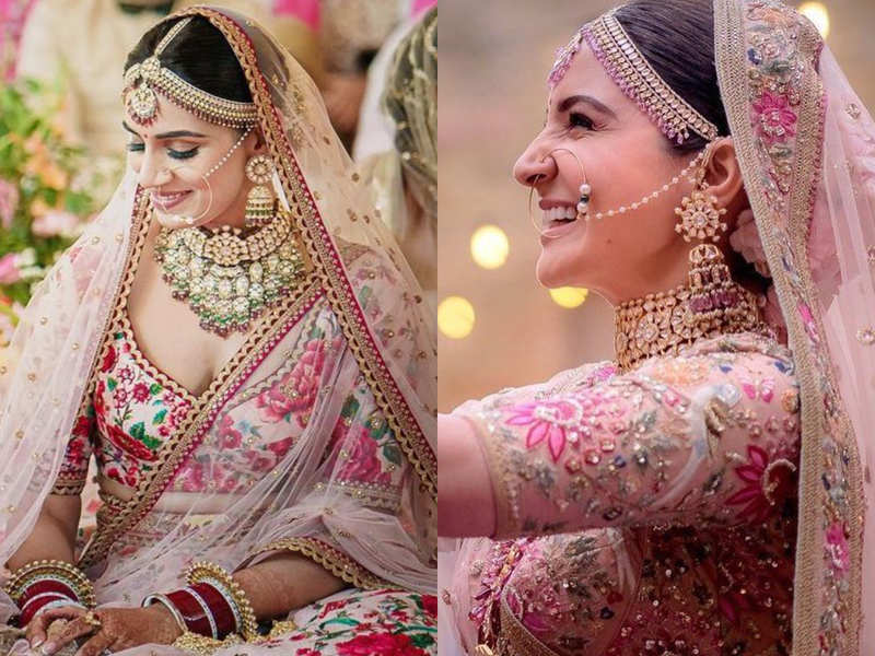Jasprit Bumrah-Sanjana Ganesan wedding: Bride's blush pink lehenga reminds us of Anushka Sharma's lehenga