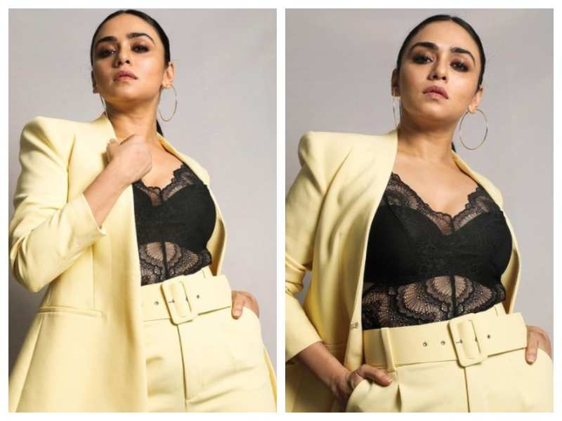 Amruta Khanvilkar gives out major boss lady vibes in THIS yellow pantsuit; see pics