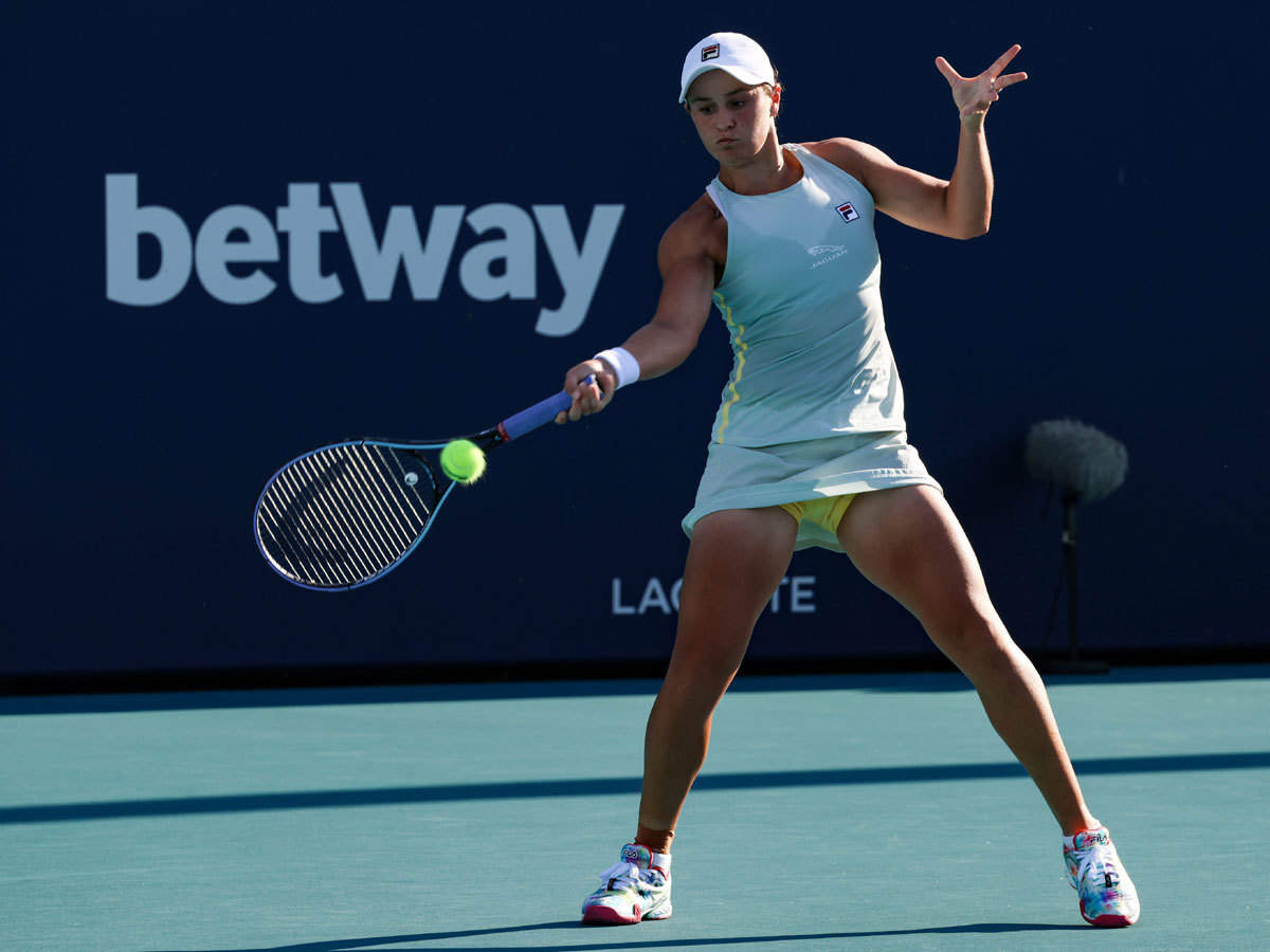 Ashleigh Barty saves match point to escape Miami opening upset   Tennis News - Times of India