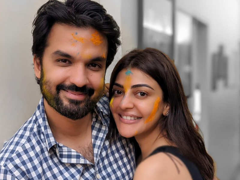 Kajal Aggarwal and Gautam Kitchlu's  first Holi is a colourful celebration at home – view pics