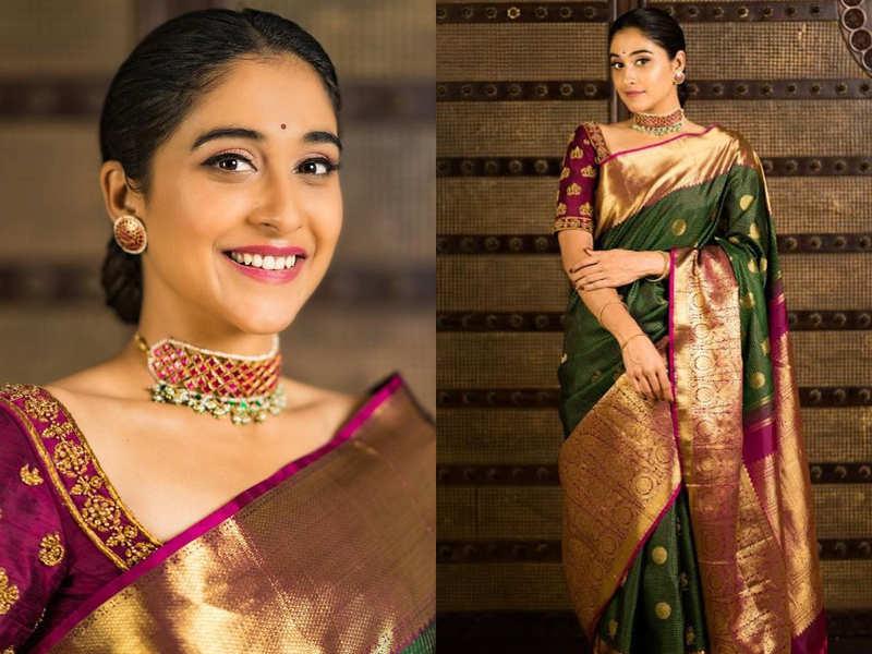 It took Regina Cassandra 8 pins and 15 minutes to drape this gorgeous Kanjeevaram sari