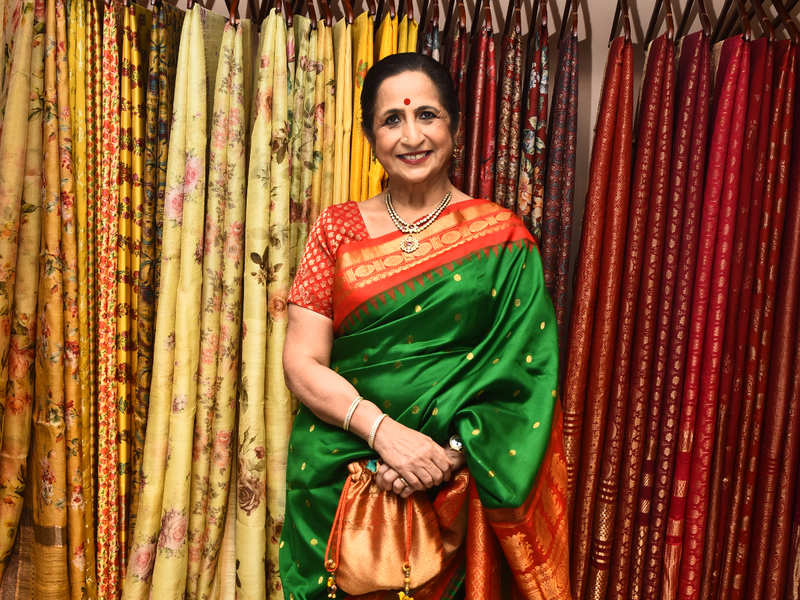 Aruna Sairam attends launch of silk sari section of a store in the city