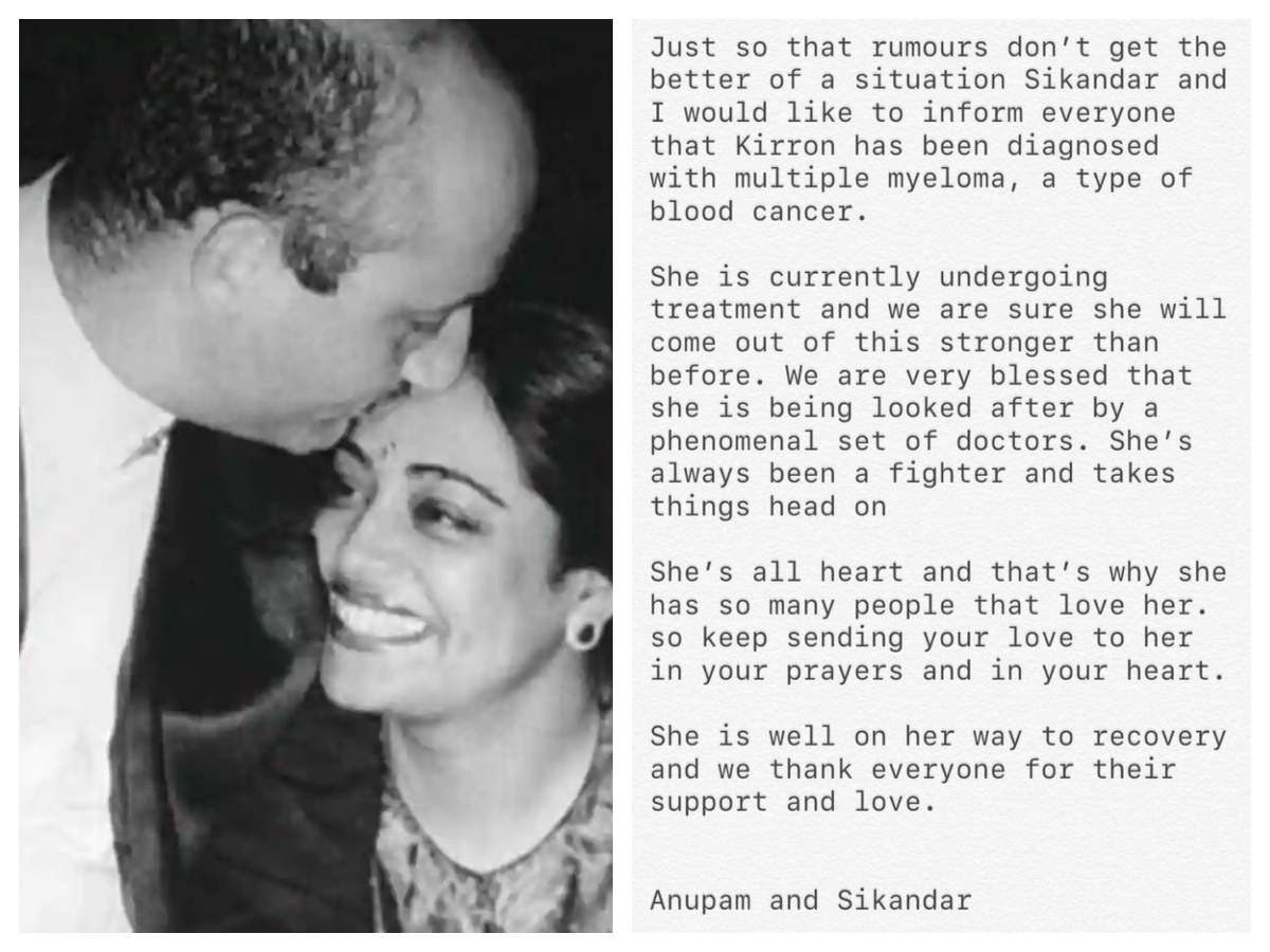 Anupam Kher reveals wife Kirron Kher is suffering from blood cancer: She's  always been a fighter | Hindi Movie News - Times of India