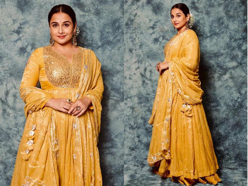 Vidya Balan's mango yellow anarkali is the summer wedding outfit of the week
