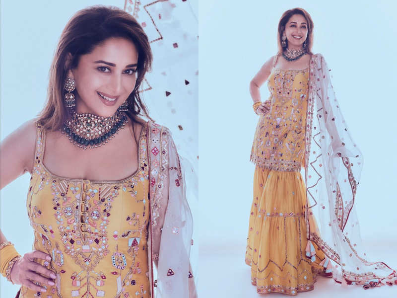 Madhuri Dixit's yellow gharara set is perfect for an intimate wedding