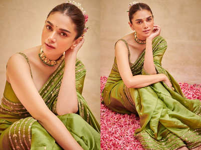 Aditi Rao Hydari's pickle green sari is unmissable