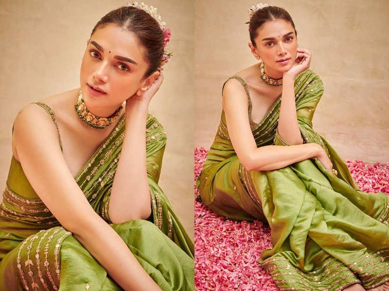 Aditi Rao Hydari's pickle green sari is unmissable