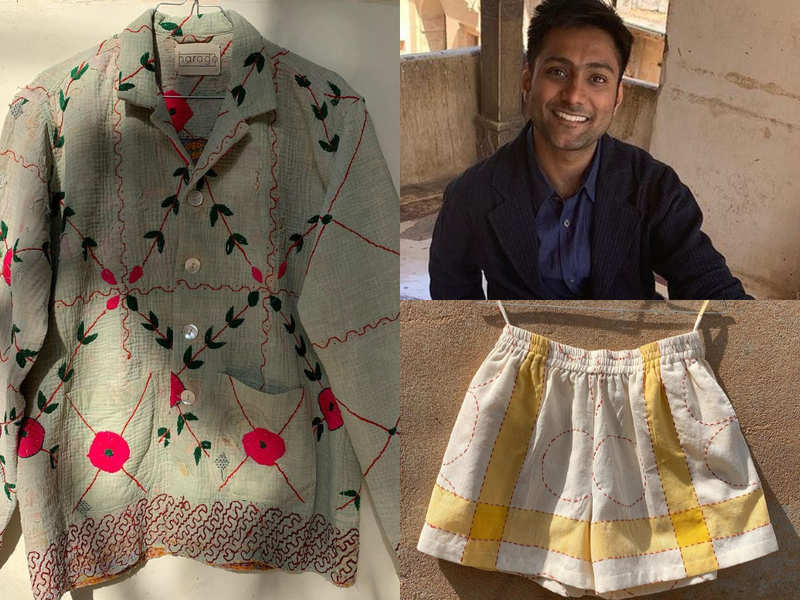 This designer uses old and discarded table cloth and quilts to make fashionable co-ord sets and jackets for men