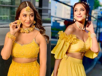 Ariah Agarwal sports two haldi looks for the show