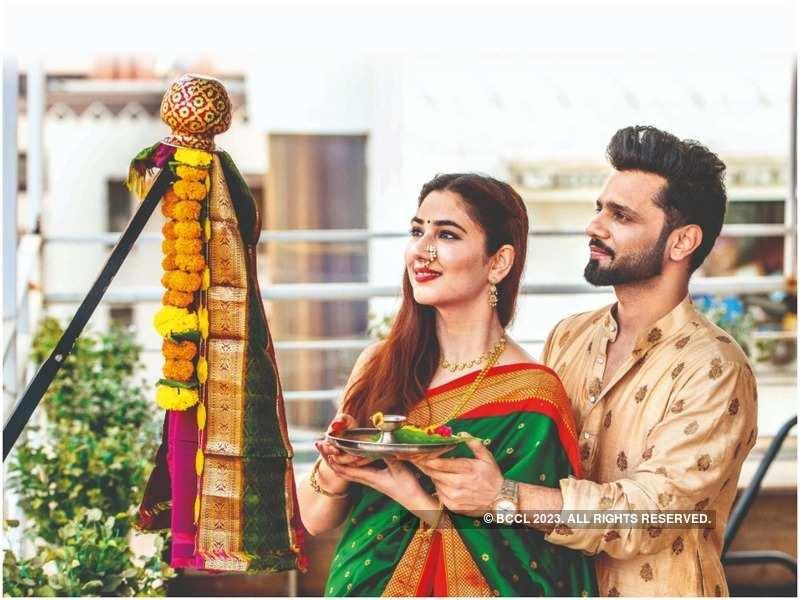 Disha Parmar and Rahul Vaidya celebrating Gudi Padwa