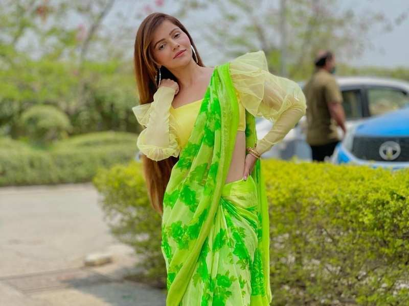 Bigg Boss 14 winner Rubina Dilaik slays in a lime green saree with a trendy blouse; says she is 'summering'