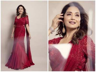 Madhuri's beautiful red saree look