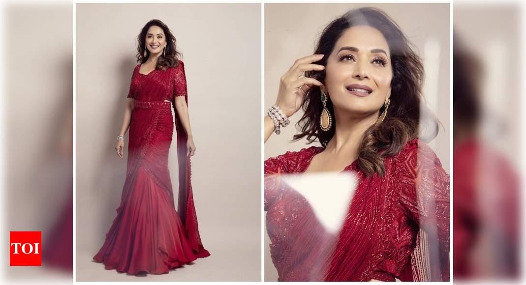Madhuri's beautiful red saree look