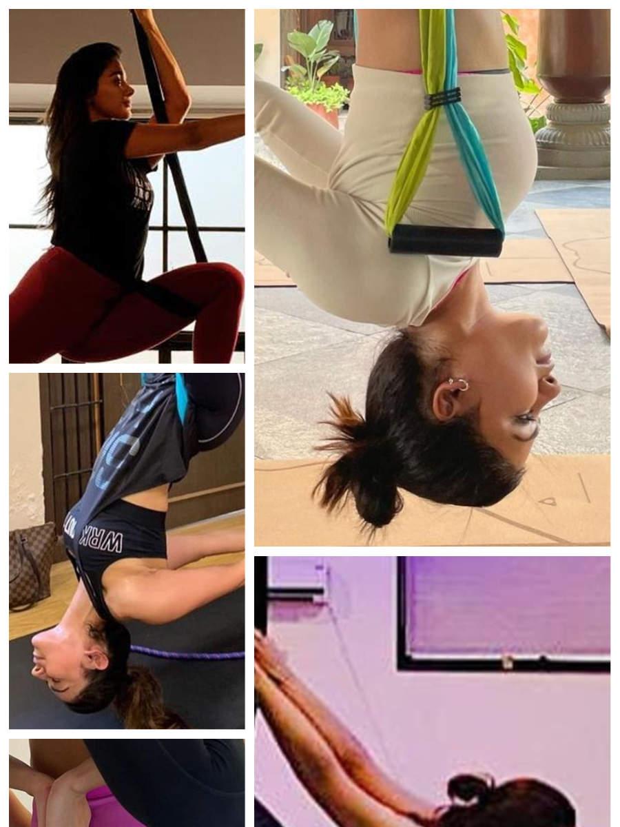 Tollywood divas who practice aerial yoga