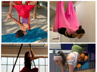 Kollywood actress' drop-dead aerial yoga poses