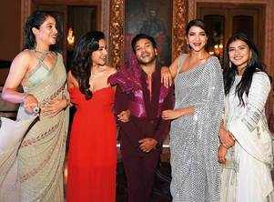 Man of the moment: Sandy is flanked by actors Lakshmi Manchu, Priya Anand, Regina Cassandra and Hebah Patel