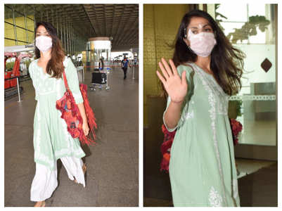 Rhea Chakraborty gets clicked at the airport