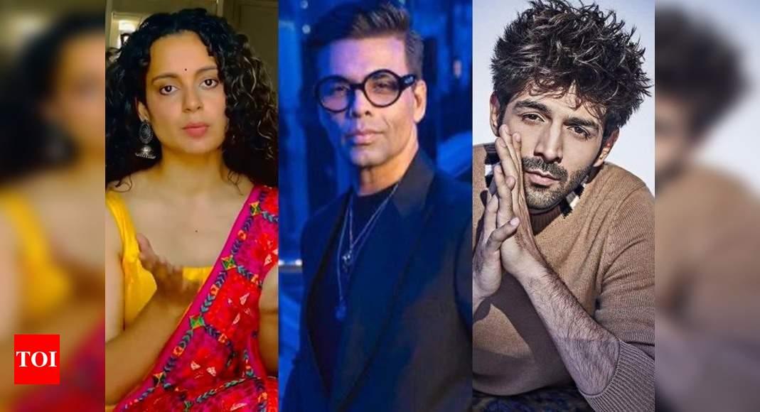 Kangana Ranaut reacts to Kartik Aaryan's exit from Karan Johar backed 'Dostana 2': Don't go after him and force him to hang himself – Times of India ►