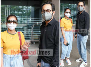 Fahadh Faasil and Nazriya Nazim spotted sporting cool sneakers in Hyderabad