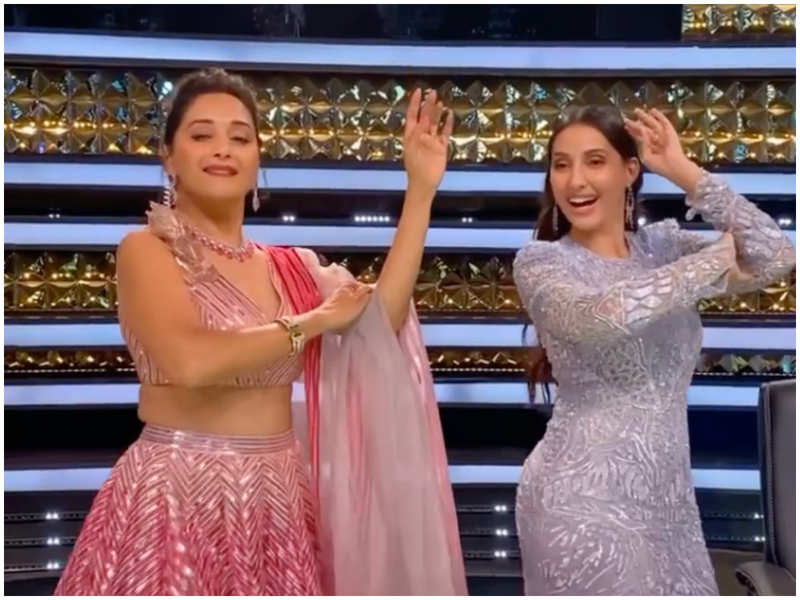 Madhuri Dixit shakes a leg with Nora Fatehi as they perform the hook step of 'Dilbar'