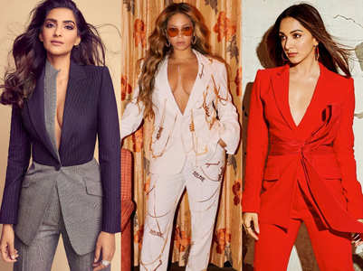Celebs wear their pantsuits sans bralette