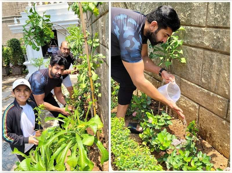 Arun Vijay plants saplings along with father and son; thanks Vivekh for the inspiration