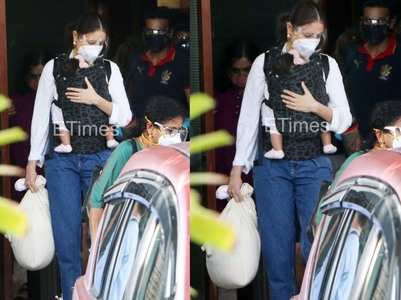 Pics: Anushka with her daughter Vamika & Virat