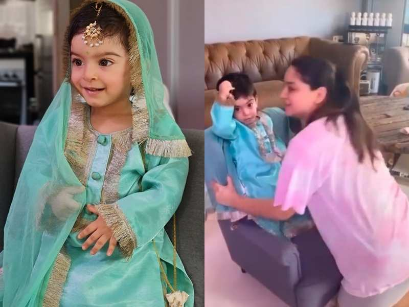 Jay Bhanushali and Mahhi Vij deck up their daughter in a traditional outfit for Kanjak puja; watch video