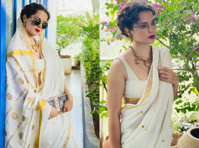 Kangana Ranaut glams up traditional Kasavu sari