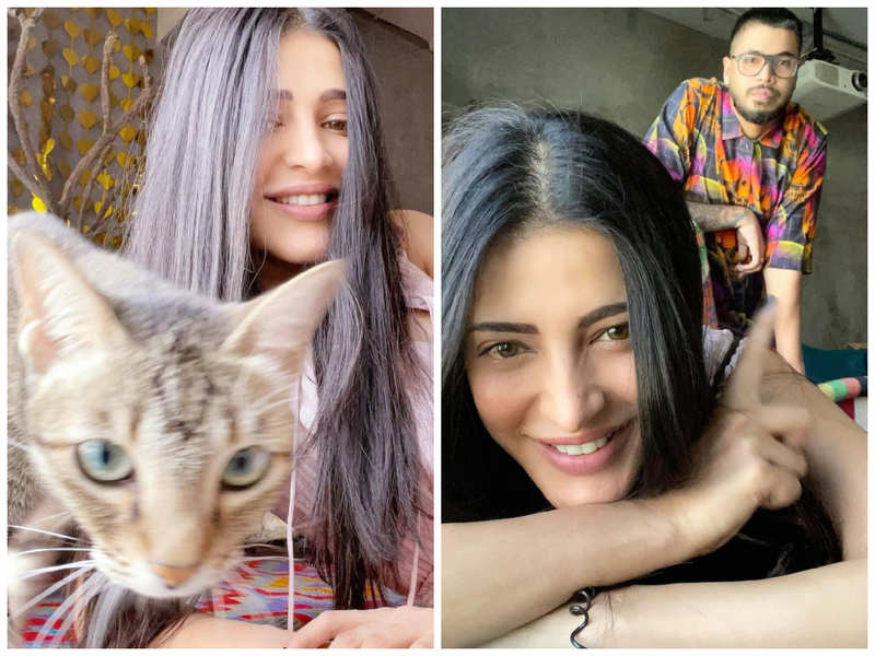 Shruti Haasan calls cat Clara and artist Santanu Hazarika her lockdown buddies