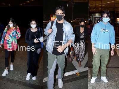 Photos: Aryan, Ananya, Arhaan at the airport