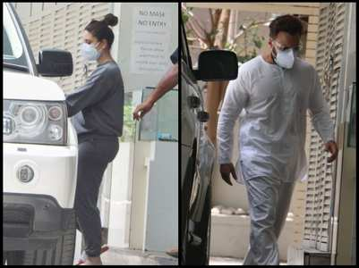 Kareena and Saif snapped outside a clinic