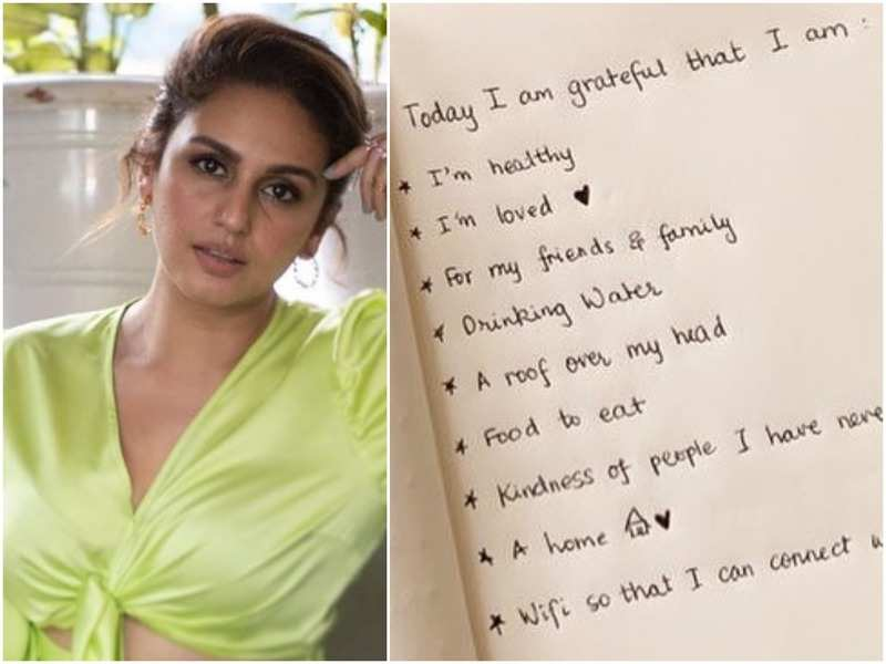 Huma Qureshi and (right) the gratitude list she shared on social media