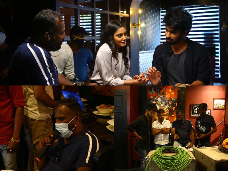Mahat and Sana shoot a scene in a city restaurant