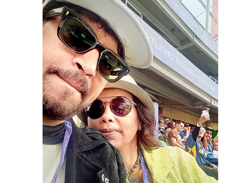 Irrfan and Sutapa at the cricket World Cup in London in 2019