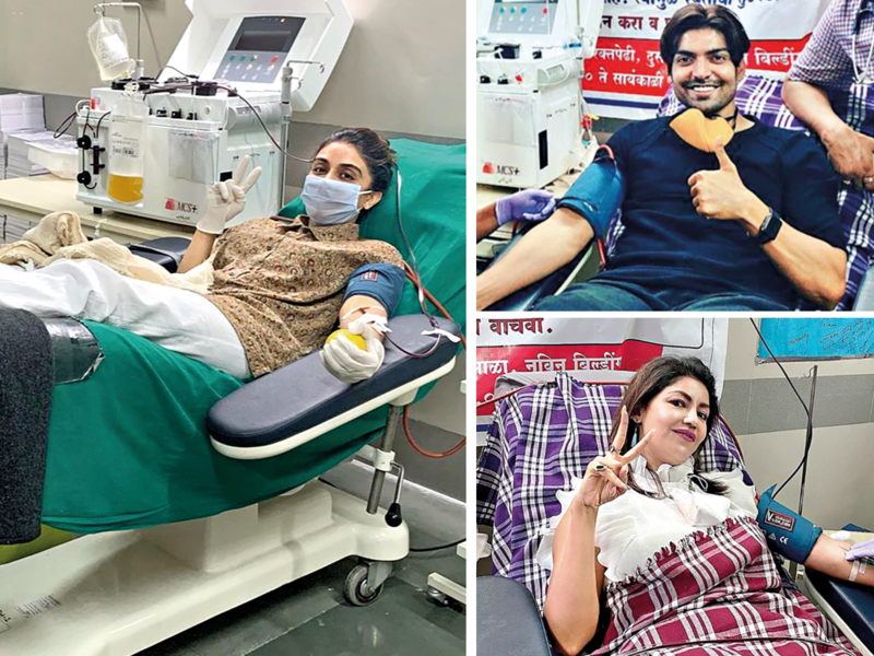Zoa Morani (Left), who had contracted COVID-19 last year, donated her plasma twice. Gurmeet Choudhary and Debina Bonnerjee also donated plasma last year