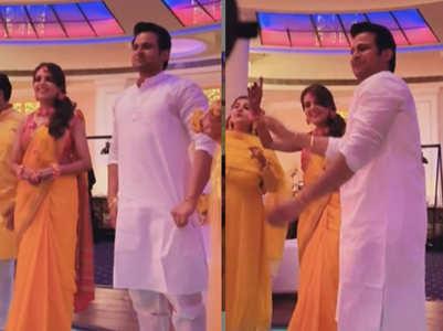 Sanket dances to dhol beats with Sugandha