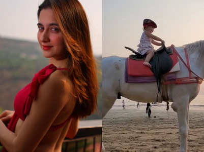 Sanjeeda Shaikh's baby girl takes horse ride