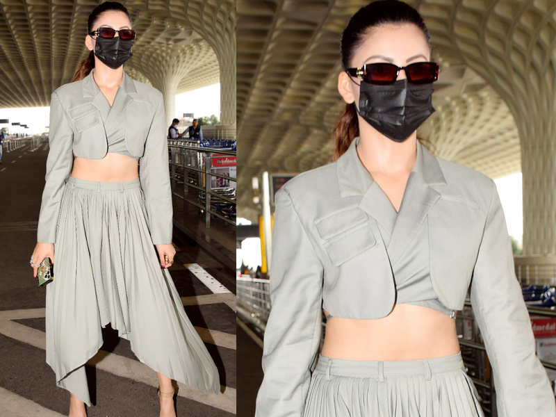 Urvashi Rautela turns heads in a cropped blazer and asymmetrical skirt
