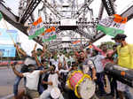 These pictures show the victory celebration of TMC workers in West Bengal