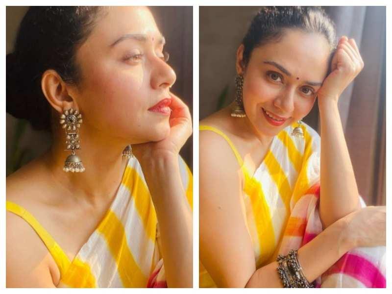 Amruta Khanvilkar looks drop-dead gorgeous in this multi-coloured saree; see pics