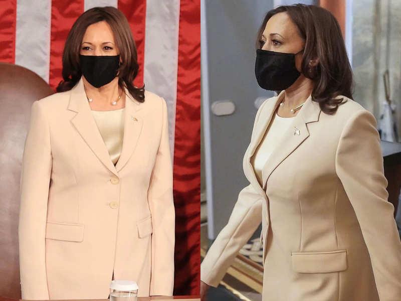Cream or light pink? Netizens debate over the colour of Kamala Harris' pantsuit