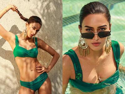 Erica Fernandes stuns in green bikini